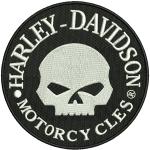 Hímzett Harley-Davidson koponya 01