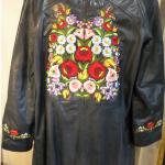 Hímzett női bőrkabát, Kalocsai minta 02